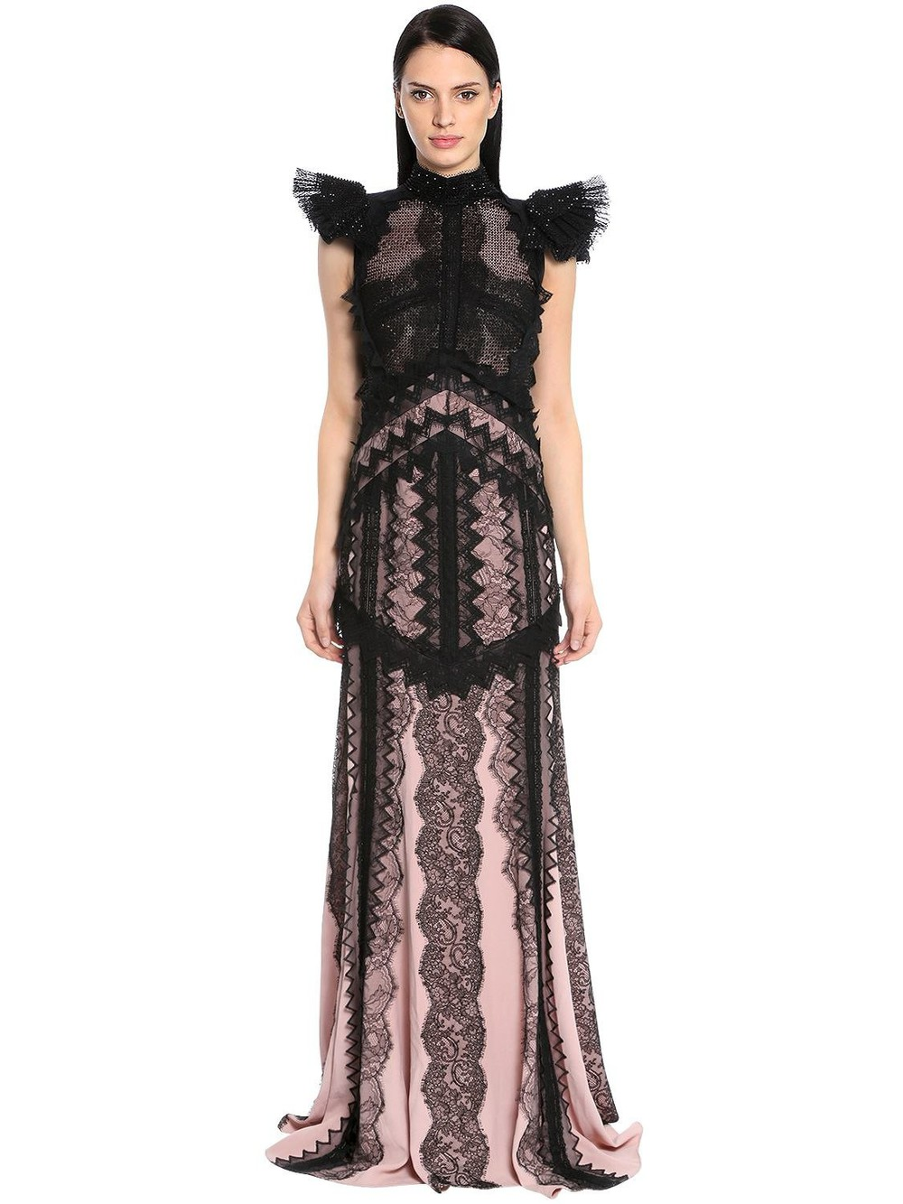 ANTONIO BERARDI Embroidered Chiffon & Envers Satin Gown in black / pink
