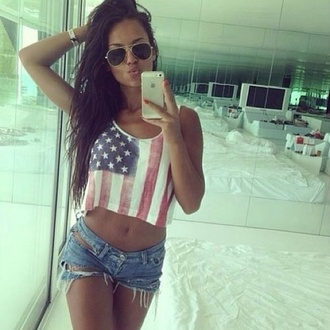 tank top american flag shorts