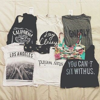 shirt tank top los angeles t-shirt grunge crop tops cute hipster black black and white vintage fashion stay weird california top underwear graphic tank top blouse bralette bra boho indie black shirt weird mean girls