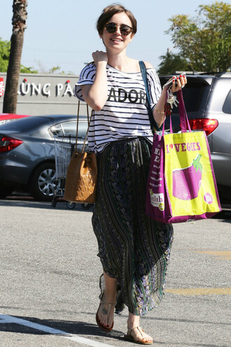 top stripes striped top lily collins skirt summer outfits bag