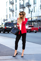sunglasses,blouse,jewels,jacket,belt,pants,bag,shoes,red,red jersey,black,black sunglasses,blonde hair,black dress,baggy t shirt,white t-shirt,white,cute,cute dress,cute top,cute outfits,cute high heels,cute socks,cute bag,leather,leather backpack,purse,jewelry