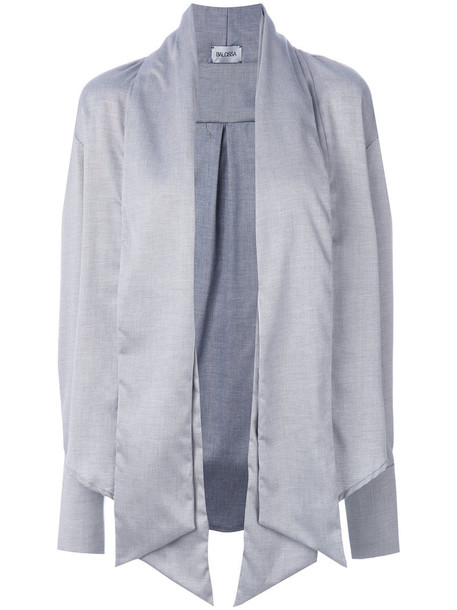 Balossa White Shirt blouse women draped cotton grey top