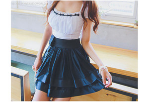 dress white blue frill one piece