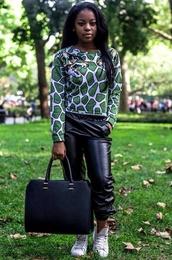 pants,leather,oversized sweater,sweatshirt,animal print,sweater
