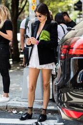 jacket,blazer,black blazer,bag,dress,white d,white dress,shoes,sunglasses