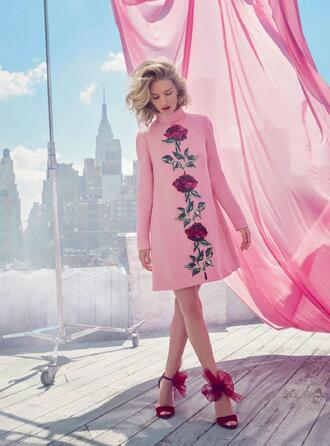 dress sandals rosie huntington-whiteley editorial flowers floral dress shoes pink red cute pastel pale rose roses