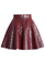 Quilted faux leather mini skater skirt in wine