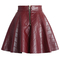 Quilted faux leather mini skater skirt in wine - retro, indie and unique fashion