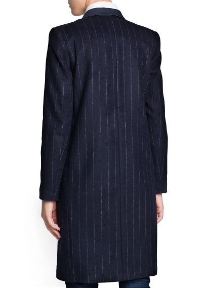 MANGO - NEW - Pinstripe wool-blend coat