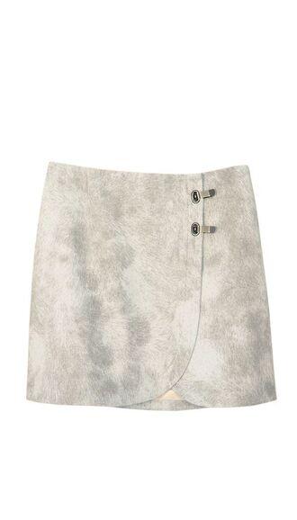 skirt grey skirt pony hair skirt pony hair winter skirt winter outfits mini skirt double clasp neutral grey fall skirt fall outfits hidden zipper wrap skirt chic