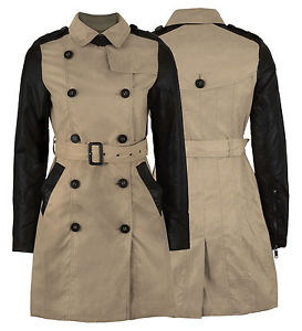 WOMENS BELTED MILITARY COAT PVC SLEEVE LADIES PARKA JACKET | eBay
