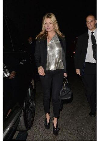 pants jacket kate moss pumps top metallic silver fall outfits metallic blouse