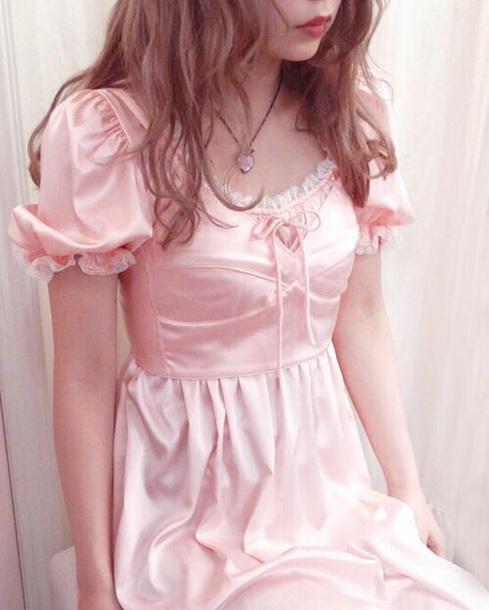 dress satin pink kawaii lolita nymph