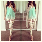 pants,mint top,floral,skirt,shirt,blue,pretty,cute,tank top,sweater,tumblr clothes,white,heels,high heels,floral tank top,blouse,leopard print,spring,mint,green,shawl,clothes,jeans,jacket,shoes,flowers,leggings,top,cardigan,pink flowers