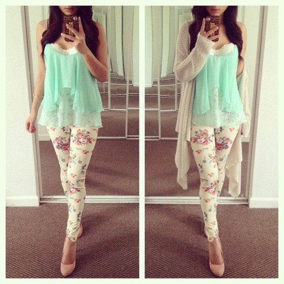 pants blue cute blouse mint sweater green leopard spring floral shawl mint top floral shirt pretty