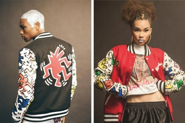 jacket keith haring print old school vintage colorful trendy college jacket urban