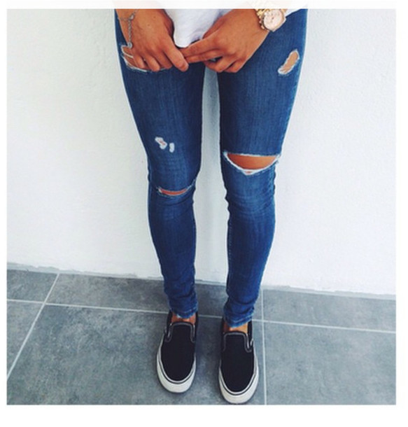 Jeans Clothes Vans Ripped Jeans - Wheretoget