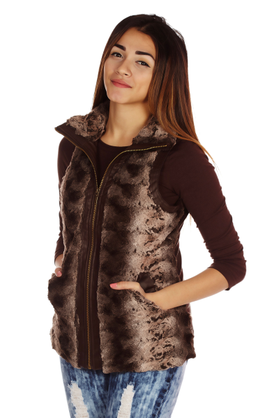 Paneled faux fur and vegan lether vest