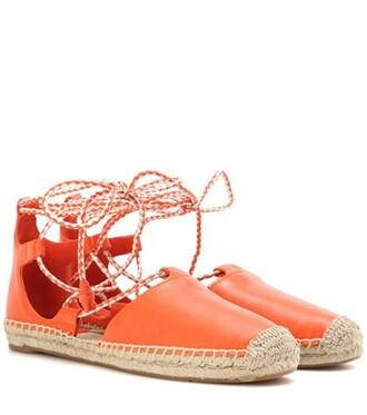 espadrilles lace leather orange shoes