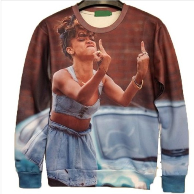 sweater middle finger rihanna allover print pullover the middle