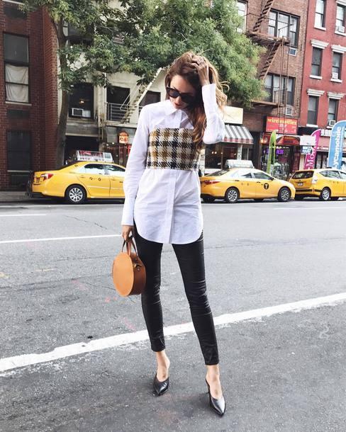 682730a8de8f87 shirt tumblr white shirt top crop tops leggings black leggings leather  leggings shoes bag round bag