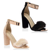 shoes,black,nude,block,heel,fluffy,fur,straps,strappy,gold,zip,fastening,women,ladies,heels,sandals,summer shoes,summer,high heel sandals
