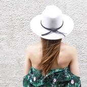 hat,wide brim hat,white hat,bogatte