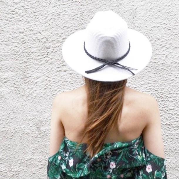 hat wide brim hat white hat bogatte