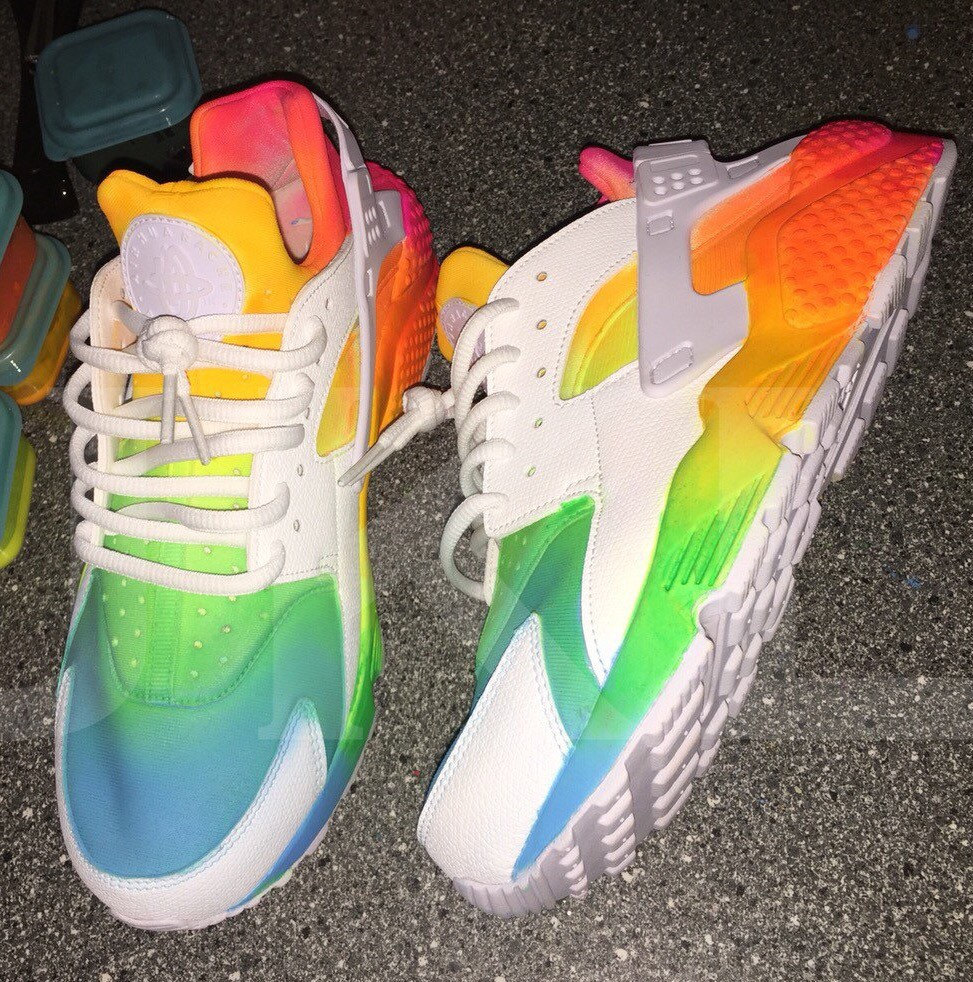 ... shoes to prevent injury and increase comfort; tie dye neon summers  white nike air huarache customs ...