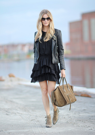 passions for fashion blogger celine bag ruffle black dress black leather jacket ankle boots