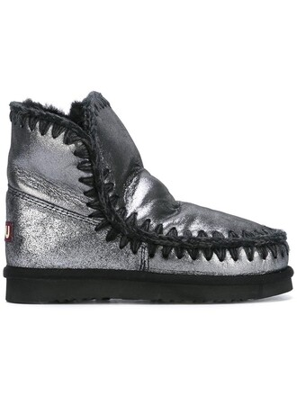 women boots leather grey metallic shoes