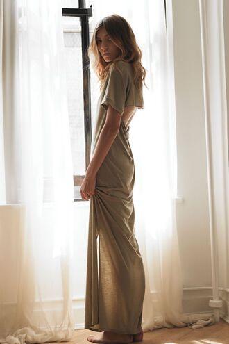 dress backless maxi dress open back prom dress backless dress boho bohemian dress tan colour tan color