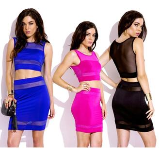 dress mesh crop top spandex skirt set party clubwear