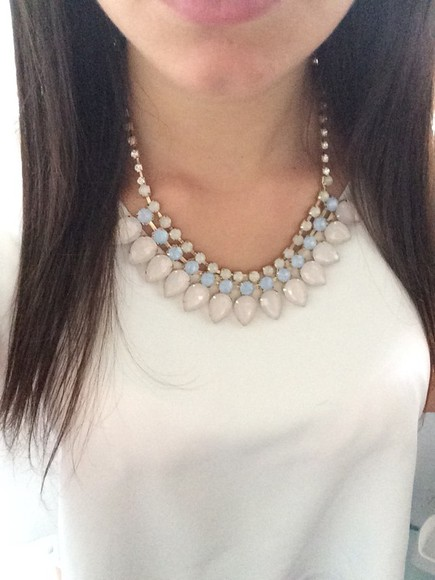 pearl jewels gold necklace white cute girly blouse light pink gold necklace top white top white blouse zara zara top