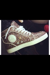 shoes,glitter,trill,swag,sparkle,louboutin,gold,high top sneakers