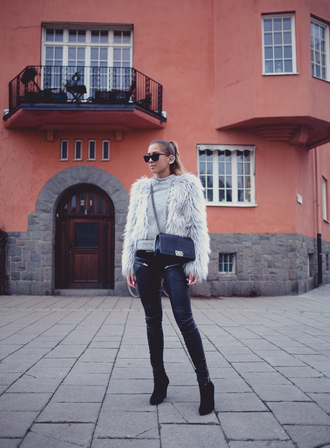 kenza blogger jacket sunglasses leather pants fluffy ear cuff