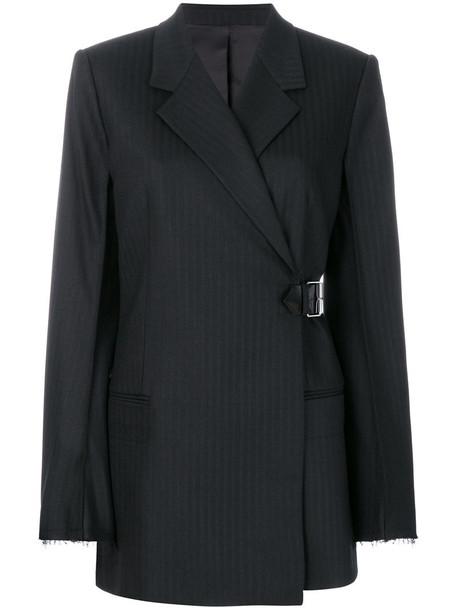 Helmut Lang blazer women spandex leather black wool jacket