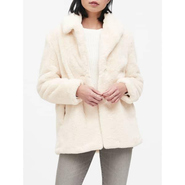 Banana Republic Women's Faux Fur Jacket Winter White Regular Size XL