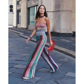 pants tumblr wide-leg pants stripes striped pants striped top spaghetti strap choker necklace black choker bag red bag