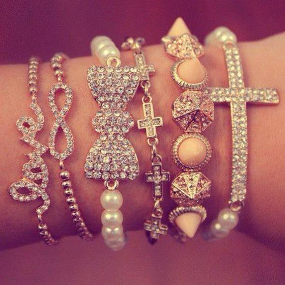 jewels diamonds infinity pearl cross love pyramid studs sparkles bracelets girl pink glitter infinity bracelet bow bracelet gold gold bracelets gold stones braclets