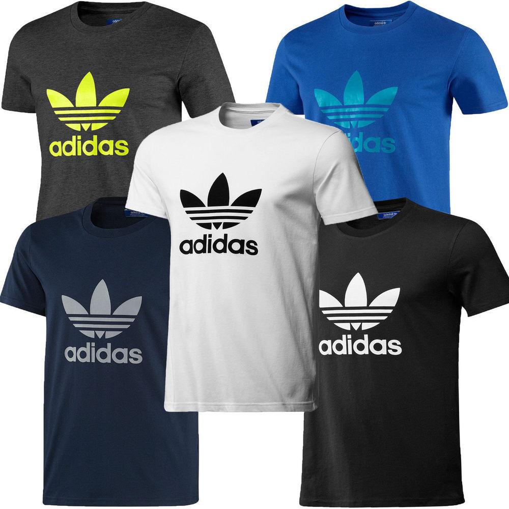 Trefoil Cotton Adidas Original Tee Sports New Crew Neck Shirt T Top qUagvg