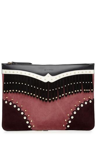 embellished clutch leather suede multicolor bag