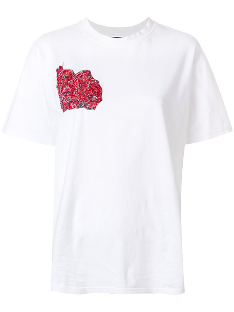 Dust - print detail T-shirt - women - Cotton - S, White, Cotton