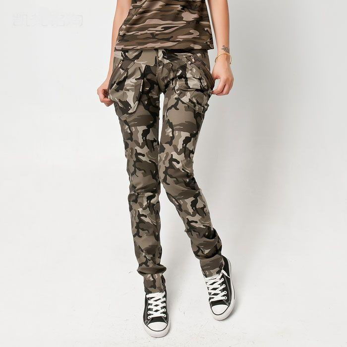 Womens Camouflage Cargo Jeans Army Combat Trousers Cargo Pants | eBay