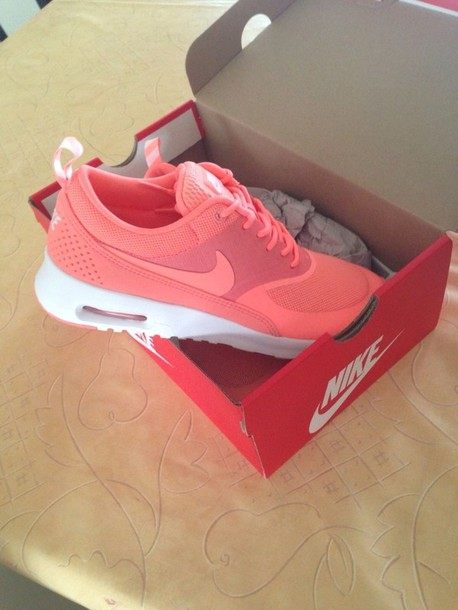 shoes, atomic pink, nike, nike air, air max, nike air max thea, nike air  max thea, orange, pink - Wheretoget