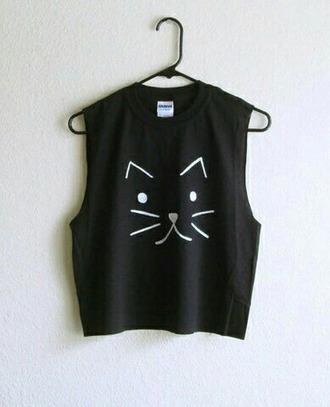 tank top muscle tank shirt t-shirt cats black crop tops tumblr cute summer soft grunge
