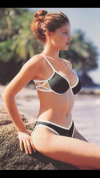 swimwear black and white swimwear laetitia casta