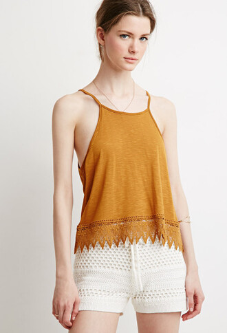 shirt orange cami orange cami orange shirt lace trim clothes forever 21 white shorts