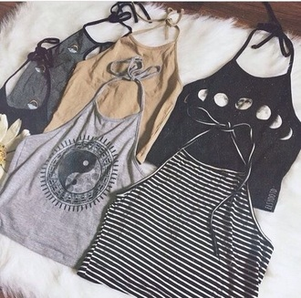top white black grey beige moon yin yang yang tumblr phases phase cute indie alternative rock teenagers girl stripes flowers floral pattern summer spring sun sunny hot
