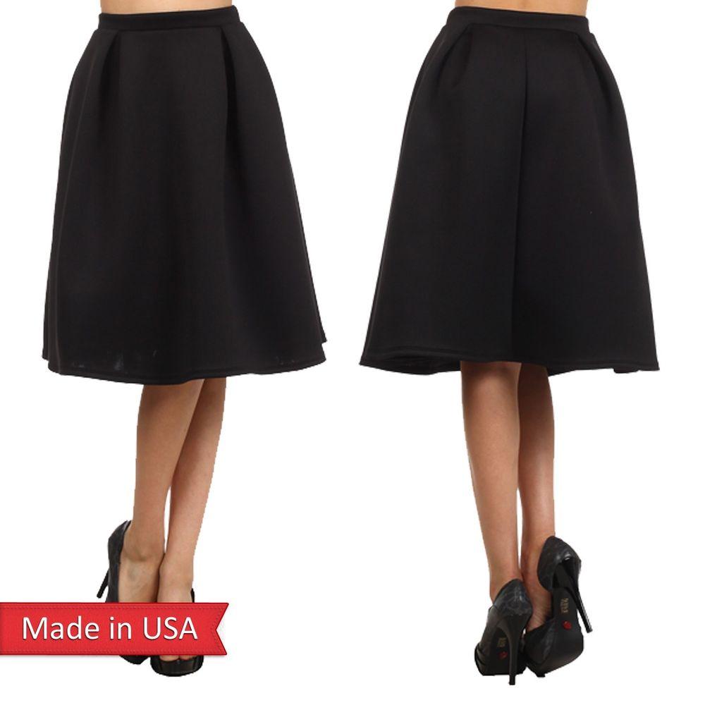Womens Black A Line Skirt